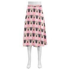 Black and Fawn Valentine Pugs Mnemosyne Women's Crepe Skirt(Model D16) | ID: D1191407