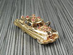 Vintage 14k Gold Car Charm 14k Yellow Gold Ruby by BelmarJewelers