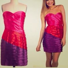 🎉Host Pick🎉NWT Gorgeous Max & Cleo dress Size 4 Brand new and never worn pink, red and purple strapless Max and Cleo dress. Size 4. Gorgeous!! Stunning colors! No PP or trades. Max and Cleo Dresses