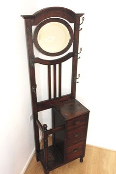 antique solid wood hallway stand umbrella stands mirror clothes hooks