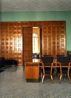 GIÒ PONTI, Interior from the reading room of the Circolo dei Professori, Padua University, Italy. Designed in late 1930s. Mosaic marble floors and cherry wood paneling on the doors. Photograph by Bill Patten, the World of Interiors, Nov. 2011./ Blogspot
