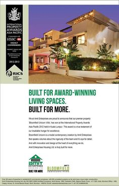 "Winning ghe International Property Awards 2012- Asia Pacific Awards in association with HSBC for ""Bloomfield Unicorn"""