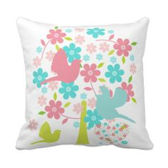 Blossoming Tree With Birds Pillow
