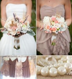 taupes, creams, love the bouquets of mint, light grey teal, coral, cream, and pink