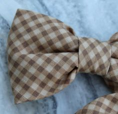 Boys Brown Gingham Plaid Bow Tie  clip on by DivineDomestication, $13.00