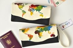 Rainbow world map wallet Colorful women's wallet One of Unique Gifts For Her, Gifts For Women, Great Gifts, Handmade Bags, Etsy Handmade, Travel Gifts, Clutch Wallet, Mother Gifts, Wallets For Women