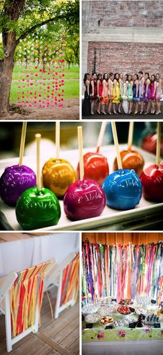 Rainbow Party candy apples •• Ideally I would be the perfect mom & make dreams such as this (a rainbowed candy apple bar) come to life. *Sigh* ;)