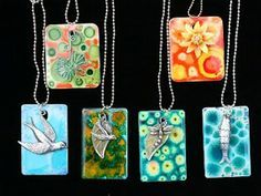 Jewelry made from laminate samples.