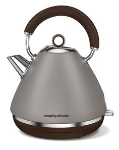 Morphy Richards launches the Accents traditional pyramid kettle in 3 special edition colours. The Pebble set will bring glamour with its grayscale. Traditional Kettles, Tableware, Kitchenware, Stainless Steel, Kitchen Appliances, Electric, Electric Kettles, Retro Design, Human Height