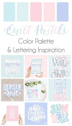 Quiet Pastels Color Palette Lettering Inspiration Grab this free color palette check out the lettering pieces I created with it and then use it to make some of your own Hex Color Palette, Palette Design, Color Schemes Colour Palettes, Palette Art, Pastel Colour Palette, Pastel Colors, Colours, Paleta De Color Hexadecimal, Paleta Pantone