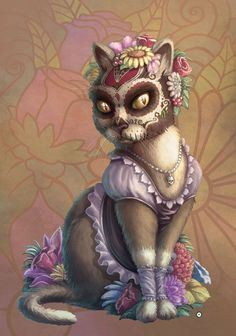 """obsessedwithskulls: """" """"CATrina"""" by ObsidianAbnormal. http://obsidianabnormal.deviantart.com/art/CATrina-462199432 """""""