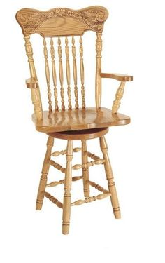 Amish Pressback Turned Leg Barstool Amish Pressback Turned Leg Barstool. Frilly and fine with an authentic pressback, elegant spindles and turned legs. Comes in oak or cherry wood. #PressbackChairs