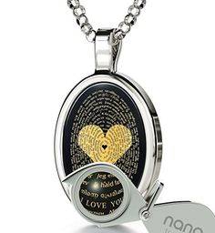 Gold Plated Love Jewelry – I Love You Necklace In 120 Languages Inscribed in Gold on Black Onyx Stone – Heart Pendant – Unique Gifts for Women: Wedding anniversary gift I Love You, Just For You, Romantic Gifts For Her, Thing 1, Unique Gifts For Women, Valentines Jewelry, Stone Heart, Love Necklace, Onyx Necklace