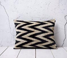 Black Velvet Ikat Pillow