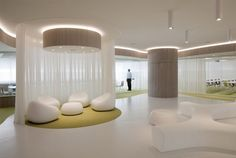 use of voile to create seating area without reducing light levels too much