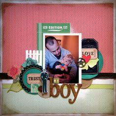 Love my Boy - Scrapbook.com - #scrapbooking #layouts #advantus #cosmocricket