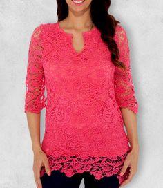 Hot Top - Hot Pink Lace Shirt