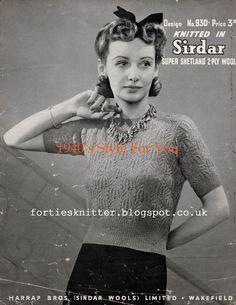 1940's Knitting - Sirdar Lacy Women's Jumper free pattern