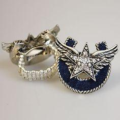 Horseshoe Wing Star Ring!  Denim for the Horseshoe, very cute!