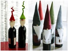 Diply.com - DIY Elf Wine Bottle Covers cute! and would look great on a buffet before serving
