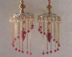 RESERVED Ruby Jhumka Earrings, Handmade 22K Gold and Silver Chandelier Earrings, Luxury Jewelry, Indian Jewelry Online, Vidhya's Chandeliers