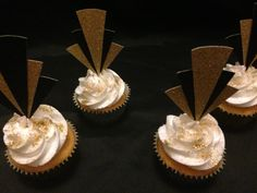Great gatsby cupcakes I like the gold glitter