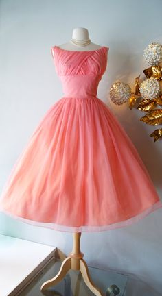 50s Dress / Vintage 1950s Coral Party Dress by by xtabayvintage, $248.00