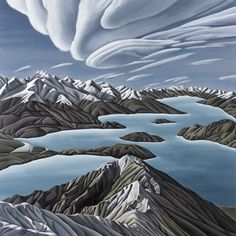 Skyline Ridge by Diana Adams - Art Prints New Zealand Wall Art For Sale, New Zealand, Diana, Skyline, Autumn, Art Prints, Mountains, Landscape, Artist