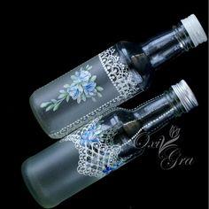 OxiGra #recznie #malowane #ornamenty #koronki #butelki