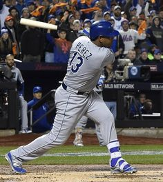 Kansas City Royals catcher Salvador Perez (13) gets a hit in the top of the second inning during Saturday's World Series baseball game on October 31, 2015 at Citi Field in Queens, N.Y.