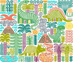 Top 10 Spoonflower Dinosaur designs: a day in pre-history
