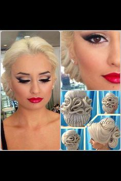 A lovely balance of eye and lip in this vintage makeup | Wedding  Bridal Makeup