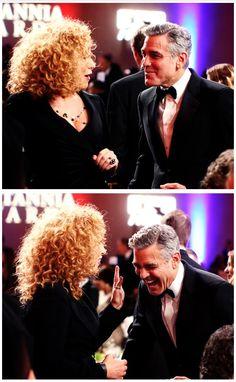 Alex Kingston and George Clooney at the 2013 BAFTA LA Jaguar Britannia Awards