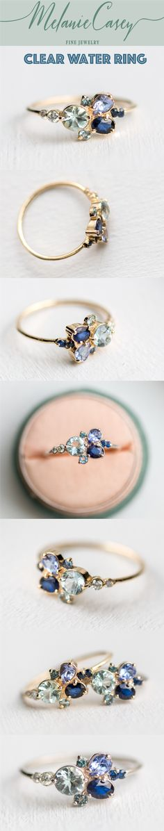 teal blue sapphire, aquamarine, pear tanzanite, dark blue sapphire, blue ring, blue cluster ring, organic ring, white diamonds, green tourmaline, accent ring, alternative engagement ring, antique ring, vintage ring, whimsy ring, whimsical ring, dainty rin