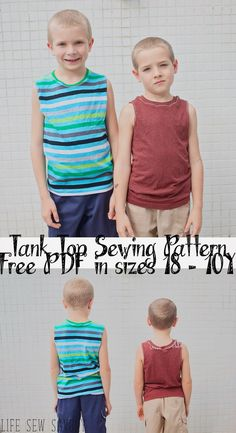 Tank Top Pattern free sewing pattern for boys from Life Sew Savory a free printable PDF pattern in sizes 18m-10Y