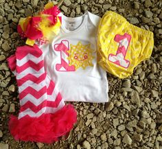 Pink and yellow sunshine birthday outfit - you are my sunshine birthday theme - 1st 2nd birthday bodysuit, skirt, leggings, and headband