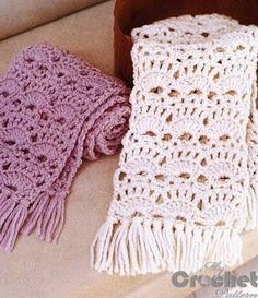 crochet lace scarf in white and purple .There are diagrams and a written pattern for this lace scarf.very pretty! scarf pattern Crochet openwork scarfves for women Crochet Scarf Diagram, Crochet Lace Scarf, Crochet Shawls And Wraps, Crochet Stitches Patterns, Crochet Beanie, Crochet Scarves, Crochet Designs, Free Crochet, Stitch Patterns