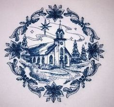 Christmas Delft Blue Machine Embroidered Quilt Blocks set of 2