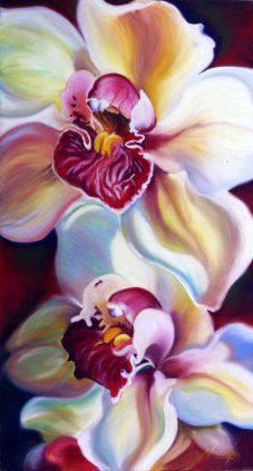 Voracity- there is something carnal about orchids, beautiful and delicate but somehow voracious. Big Flower pastel painting by Anita Nowinska