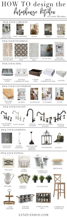 How to Design a Farmhouse Kitchen - this concept breaks down the steps of designing a room - Lynzy and Co.