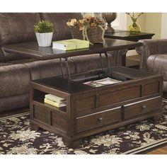 Gately Lift Top Cocktail Table in Medium Brown   Nebraska Furniture Mart