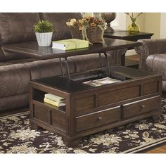 Gately Lift Top Cocktail Table Gately Lift Top Cocktail Table in Medium Brown | Nebraska Furniture ...
