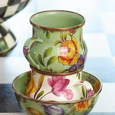 Flower Market Mug - Green: Set a sunny table in glorious color, fresh from a country garden, with Green Flower Market Mugs. The garden-fresh design is color-glazed and hand decorated enamelware with floral transfers. Mix and match colors or pair with Courtly Check® for a fun, fresh look, or for a bold arrangement, choose a single color for the entire table.