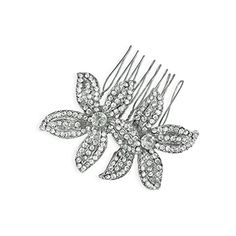 Bridal Rhinestone Double Flower Comb ** Visit the image link more details.(This is an Amazon affiliate link and I receive a commission for the sales)