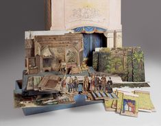 Paper theater for children.  A small-scale theater preserved with numerous backgrounds. By painter and drawing teacher Ludwig Adam Kelterborn (1811 Hanover - 1878 Basel)