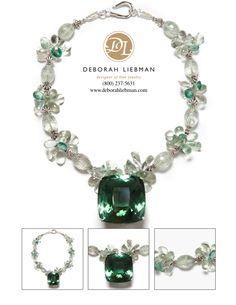 325 Carat Green Amethyst Pendant, Green Amethyst Butterflies, Green Topaz and Sterling Silver