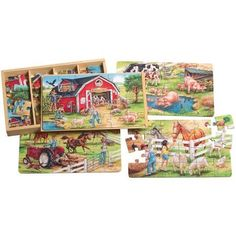 T.S. Shure Farm Large Puzzles in a Wooden Box, 4 Puzzles