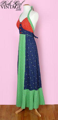 1970's Jody T Patchwork Maxi Dress