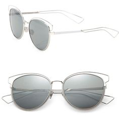 Dior Women's Sideral Cat's-Eye 56MM Sunglasses (€425) ❤ liked on Polyvore featuring accessories, eyewear, sunglasses, silver, soft accessorie - sunglasses, cateye sunglasses, logo lens sunglasses, cat eye sunglasses, logo sunglasses and cat-eye glasses