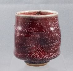 Handmade Sparkly Deep Red Pottery Cup Mug Tea by Door County Potters Ellison Bay Pottery $24.50